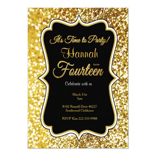 14th birthday invitation in black and gold Zazzlecom