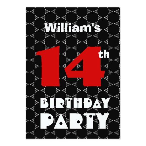 14th Birthday Modern Teen Black and White Pattern 5x7 Paper Invitation Card
