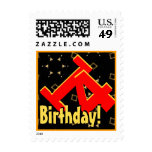 14th Birthday Party Big Bold Red Black Gold V006 Postage Stamp