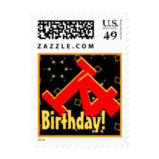 14th Birthday Party Big Bold Red Black Gold V006 Stamps