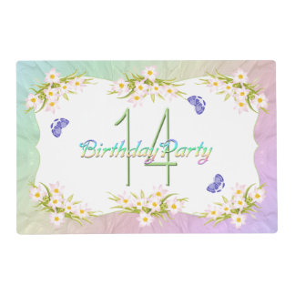 14th Birthday Party Butterflies and Wildflowers Placemat