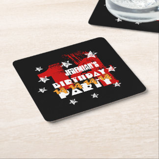 14th Birthday Party Grunge RED GOLD BLACK A08 Square Paper Coaster