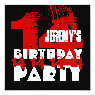 """14th Birthday Party Grunge WARM TONES Z14A 5.25"""" Square Invitation Card"""