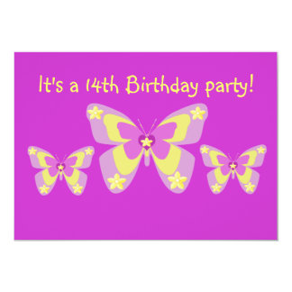 14th Birthday Party Invitation, Butterflies 5x7 Paper Invitation Card