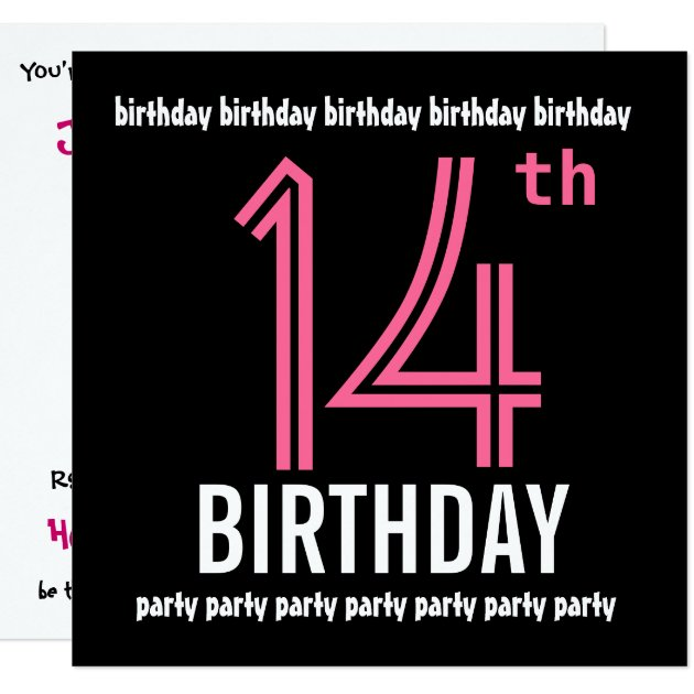 14th Birthday Party Invitation Template Pink Black | Zazzle