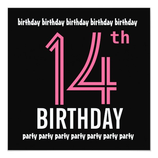14th birthday party invitation template pink black zazzle com