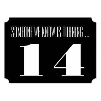 "14th Birthday party Invite, black and white. 5"" X 7"" Invitation Card"
