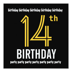60 off 14 year old birthday invitations shop now to save zazzle 14th birthday party modern gold and black invitation filmwisefo