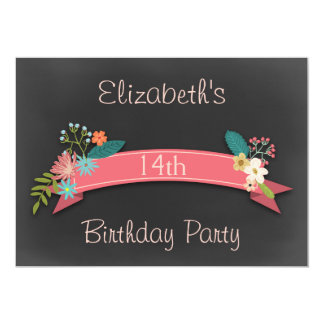 14th Birthday Pink Banner Flowers Chalkboard Card