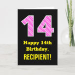 "[ Thumbnail: 14th Birthday: Pink Stripes and Hearts ""14"" + Name Card ]"