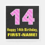 "[ Thumbnail: 14th Birthday: Pink Stripes and Hearts ""14"" + Name Napkins ]"