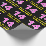 """[ Thumbnail: 14th Birthday: Pink Stripes and Hearts """"14"""" + Name Wrapping Paper ]"""