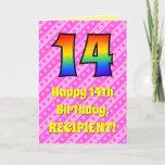 [ Thumbnail: 14th Birthday: Pink Stripes & Hearts, Rainbow # 14 Card ]