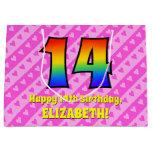 [ Thumbnail: 14th Birthday: Pink Stripes & Hearts, Rainbow # 14 Gift Bag ]