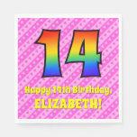 [ Thumbnail: 14th Birthday: Pink Stripes & Hearts, Rainbow # 14 Napkins ]