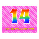[ Thumbnail: 14th Birthday: Pink Stripes & Hearts, Rainbow 14 Postcard ]