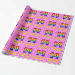 [ Thumbnail: 14th Birthday: Pink Stripes & Hearts, Rainbow # 14 Wrapping Paper ]