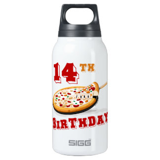 14th Birthday Pizza Party 10 Oz Insulated SIGG Thermos Water Bottle