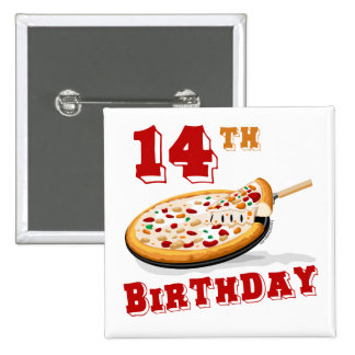 14th Birthday Pizza Party Pinback Buttons