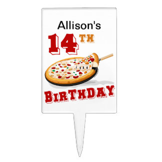 14th Birthday Pizza Party Cake Toppers