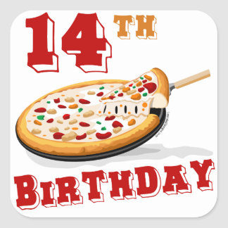 14th Birthday Pizza Party Square Stickers
