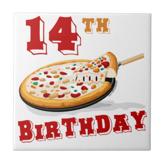 14th Birthday Pizza Party Tile