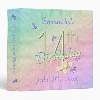 14th Birthday Rainbow Garden 3 Ring Binder