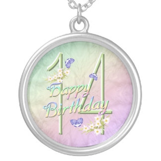 14th Birthday Rainbows and Butterflies Necklace