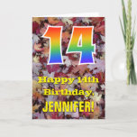 "[ Thumbnail: 14th Birthday; Rustic Autumn Leaves; Rainbow ""14"" Card ]"