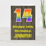 "[ Thumbnail: 14th Birthday: Rustic Faux Wood Look, Rainbow ""14"" Card ]"