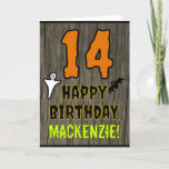 [ Thumbnail: 14th Birthday: Spooky Halloween Theme, Custom Name Card ]