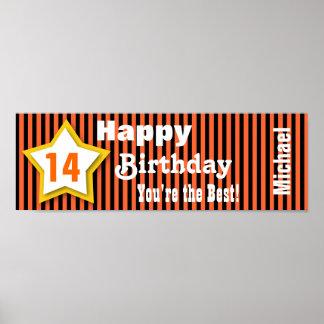 14th Birthday Star Banner Custom S04A ORANGE Posters