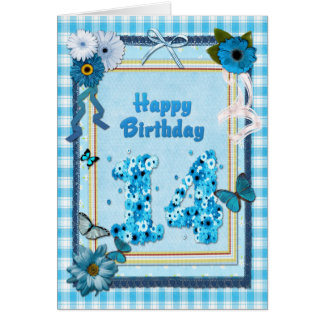 14th Birthday with a scrapbook effect Card