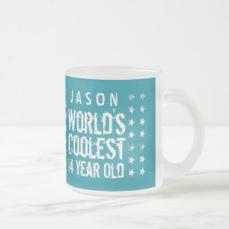 14th Birthday World's Coolest 14 Year Old Teal Z14 Frosted Glass Coffee Mug
