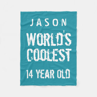 14th Birthday World's Coolest 14 Year Old Teal Z14 Fleece Blanket