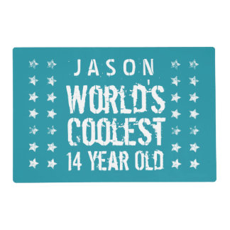 14th Birthday World's Coolest 14 Year Old Teal Z14 Laminated Placemat
