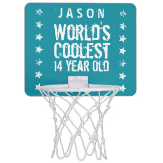 14th Birthday World's Coolest 14 Year Old Teal Z14 Mini Basketball Hoops