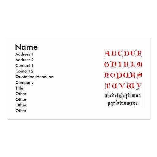 14th Century Alphabet Business Card