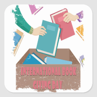 14th February - International Book Giving Day Square Sticker