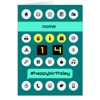 14th hashtag computing birthday add name greeting card