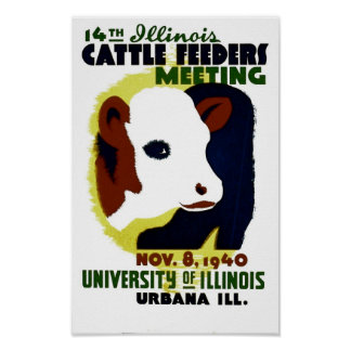 14th Illinois Cattle Feeders Meeting - WPA Poster