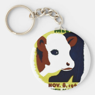 14th Illinois Cattle Feeders Meeting - WPA Poster Basic Round Button Keychain