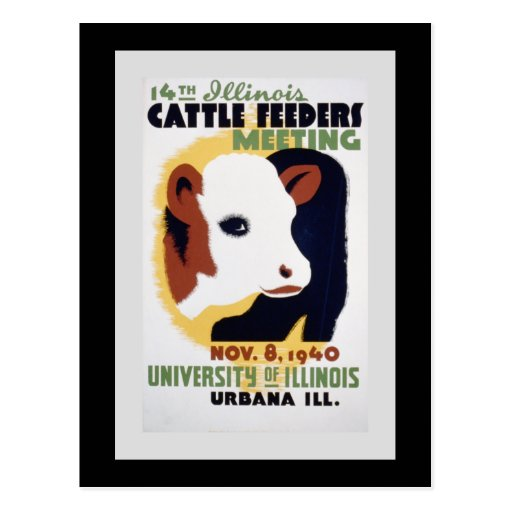 """""""14th Illinois Cattle Feeders Meeting"""" WPA Poster Postcard"""