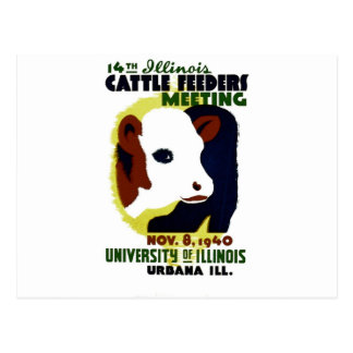 14th Illinois Cattle Feeders Meeting - WPA Poster Postcard