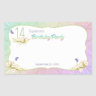 14th Rainbow and Butterflies Birthday Party Rectangular Sticker