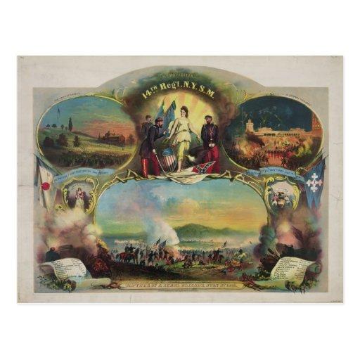 14th Regiment N.Y.S.M. Civil War Engagements Postcard