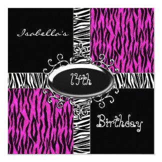 14th Teen Birthday Wild Pink Animal Black Card