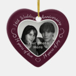 14th Wedding Anniversary Photo Double-Sided Heart Ceramic Christmas Ornament