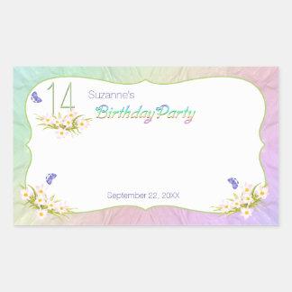 14to Arco iris y fiesta de cumpleaños de las Pegatina Rectangular