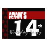 14to Blanco y negro rojo moderno de la fiesta de c Invitación